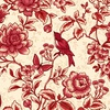 Henry Glass Fabrics Tarrytown Floral Toile Tonal Cream/Red