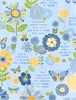 Wilmington Prints Sing Your Song Flowers and Sentiments Blue