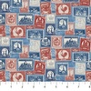 Northcott Paris Always A Good Idea Packed Stamps Navy/Red
