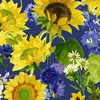 Clothworks Sunny Fields Mixed Floral Royal