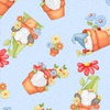 Henry Glass Fabrics Gnome is Where Your Garden Grows Gnomes in Clay Pots Blue