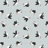 Lewis and Irene Fabrics Small Things By The Sea Puffins Light Grey
