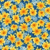 Robert Kaufman Fabrics Gardenside Path Packed Flowers Blue