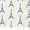 Northcott Paris Always A Good Idea Eiffel Tower Cream/Blue