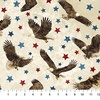 Northcott Stonehenge Stars and Stripes Eagles Beige