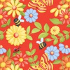 Henry Glass Fabrics Gnome is Where Your Garden Grows Butterflies and Flowers Red