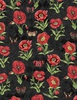 Wilmington Prints Harlequin Poppies Poppies and Butterflies Black