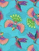 Wilmington Prints Rainbow Flight Birds Teal
