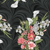 Benartex Magnificent Blooms Bouquet Wave Texture Black