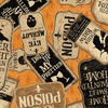 Clothworks Pick Your Poison Sign Collage Orange