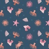 Lewis and Irene Fabrics Small Things By The Sea Ocean Creatures Blue