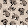 Northcott Woodland Pitter Patter Raccoons Latte