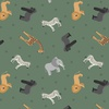 Lewis and Irene Fabrics Small Things World Animals African Green