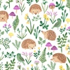 Clothworks Woodland Wander Hedgehogs and Greenery White