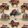 Blank Quilting Country Paradise Barns and Horses Tan