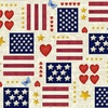 Henry Glass America The Beautiful Hearts and Flags Off White