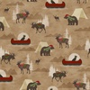 Henry Glass Woodland Haven Flannel Animals, Canoes, and Tents