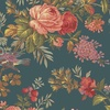 Andover Fabrics Bed of Roses Teal