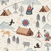 Lewis and Irene Fabrics Viking Adventure Viking Village Cream