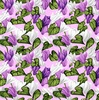 Clothworks Misty Meadow Flower Toss Light Eggplant