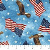 Northcott Stonehenge Stars and Stripes Flannel Flags and Eagles