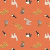 Lewis and Irene Fabrics Small Things World Animals South American Orange