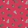 Lewis and Irene Fabrics Small Things World Animals North American Animals Red