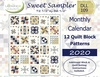 2020 Sweet Sampler Monthly Quilt Block Calendar