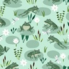 Clothworks Woodland Wander Frogs Light Mint