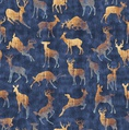 Quilting Treasures Timberland Trail Animal Silhouettes Navy
