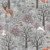 Lewis and Irene Fabrics Winter in Bluebell Wood Scenic Light Grey