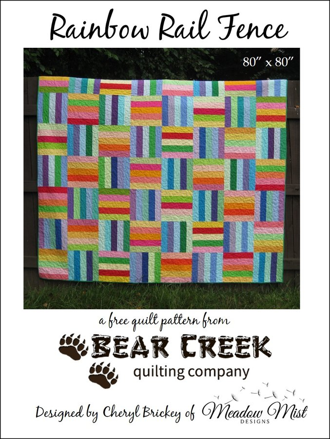 Rainbow Rail Fence Free Quilt Pattern