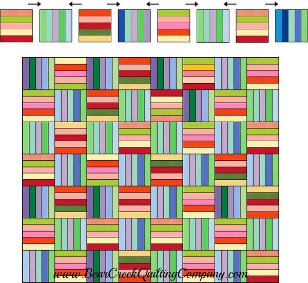 Rainbow Rail Fence Free Quilt Pattern